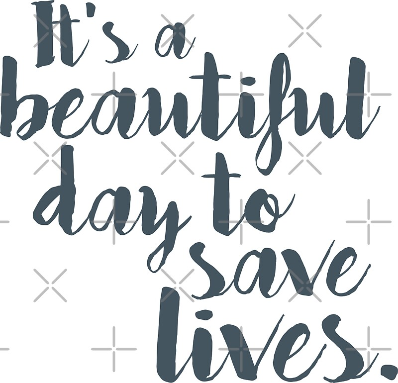 Greys Anatomy Quotes Wallpaper Quot It S A Beautiful Day To Save Lives Quot Stickers By