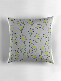 """""""Floral Flowers blue pillow"""" Throw Pillows by Neve12 ..."""