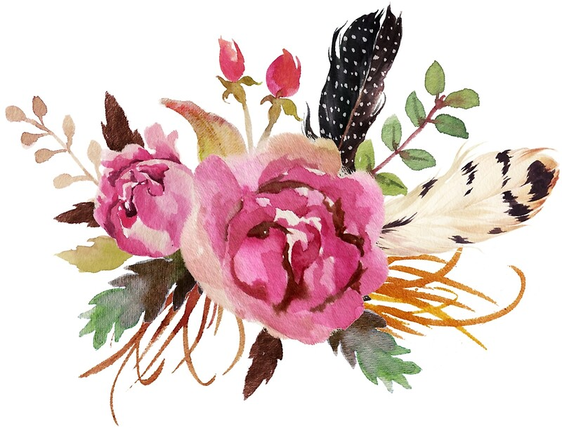 Orange Fall Peonies Wallpaper Quot Burgundy Watercolor Flowers And Feathers Quot Art Prints By