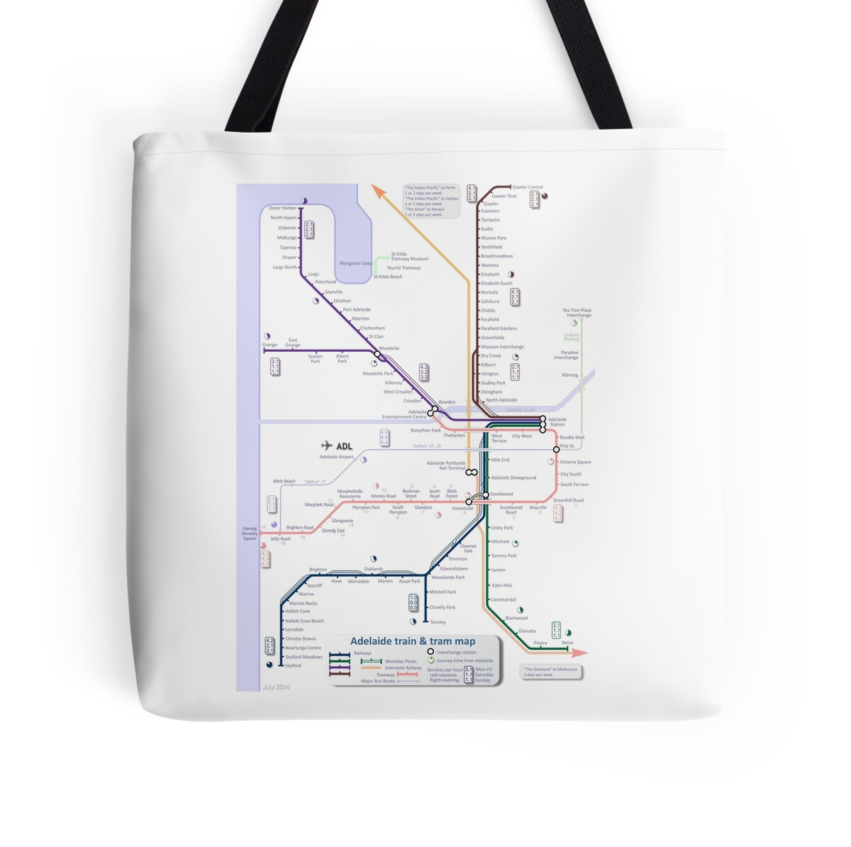 Canvas Bags Adelaide Quotadelaide Train And Tram Map Quot Tote Bags By Railmaps