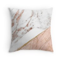 """""""Rose gold marble blended"""" Throw Pillows by peggieprints ..."""