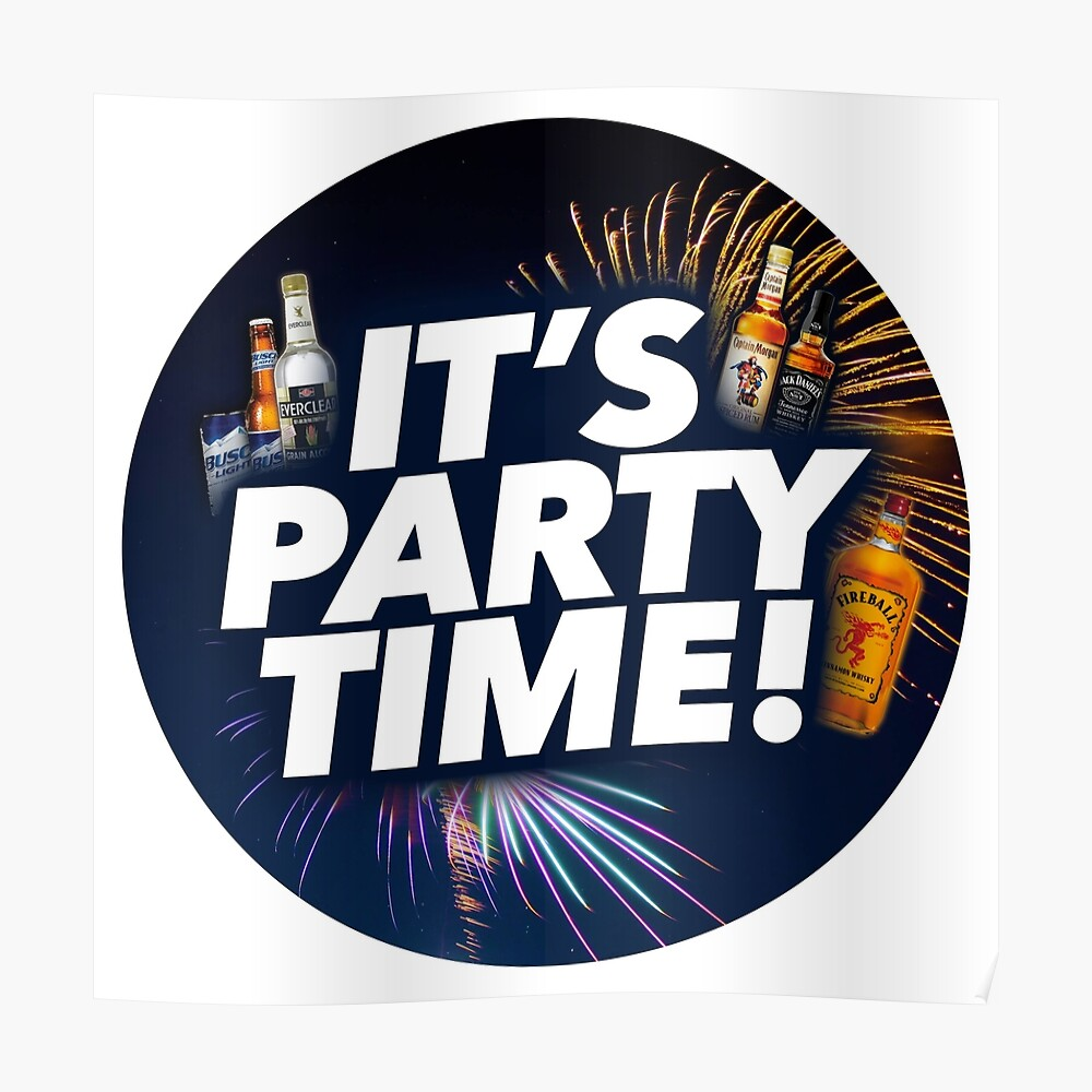Party Time It S Party Time Clock Poster