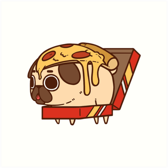 Iphone Product Red Wallpaper Quot Puglie Pizza Quot Art Prints By Puglie Pug Redbubble