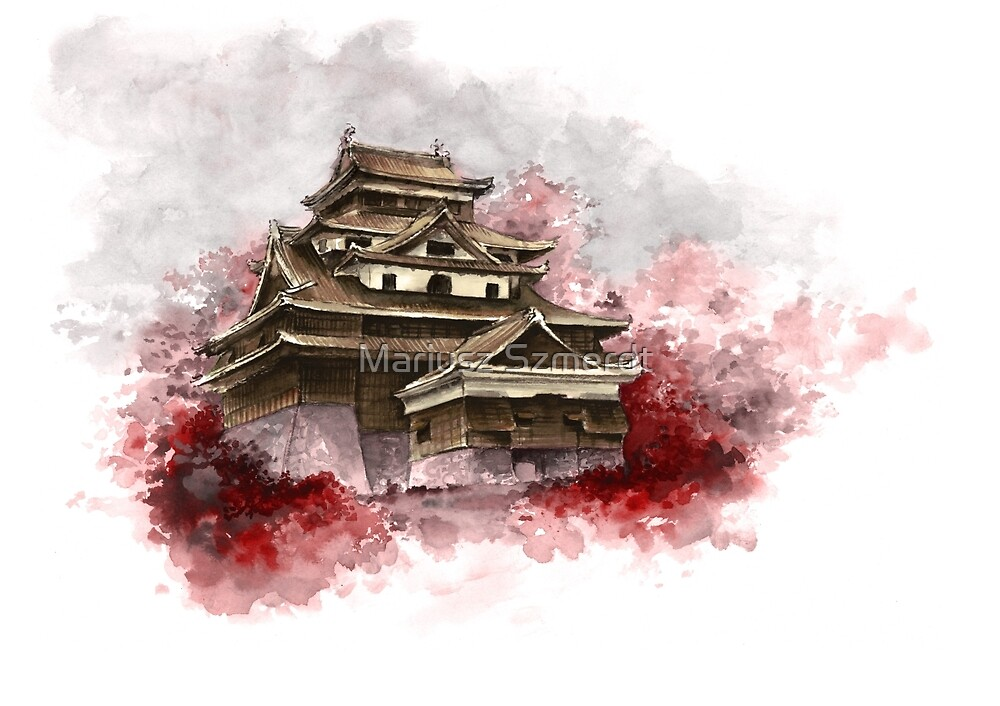 Japanese Wall Calendars Japanese Calendars Zazzle Quot;japanese Castle Sumi E Painting Japanese Art Print For