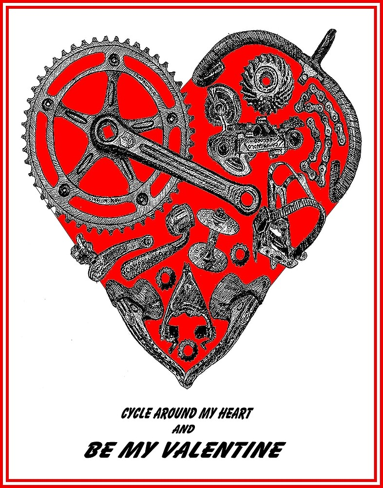 VALENTINE; Bicycle Parts Heart Print\