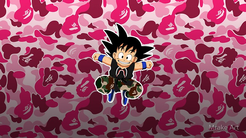 Pink Camo Wallpaper For Iphone 5 Quot Bape X Goku Quot Stickers By Mrake Art Redbubble