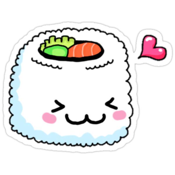 Cute Cartoon Sushi Wallpaper Quot Kawaii Sushi Quot Stickers By Erinaugusta Redbubble