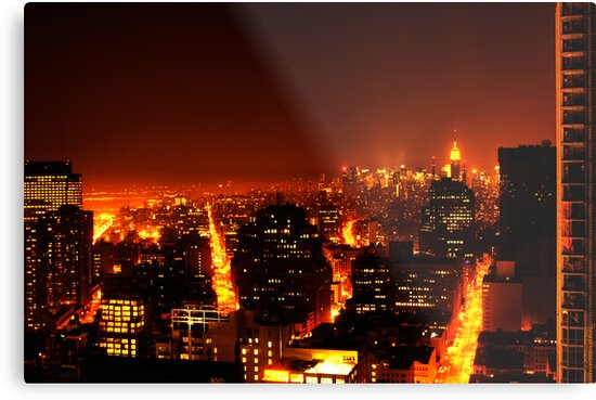 Quotnew York City On Firequot Metal Prints By Dapen Redbubble