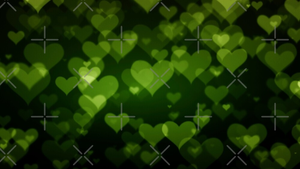 Soft Green Hearts On Dark Graduated background\