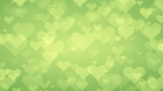 Soft Green Hearts On Light Graduated Background\
