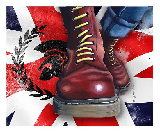Quotskinhead Doc Martens With Trojan Logo And Union Flag