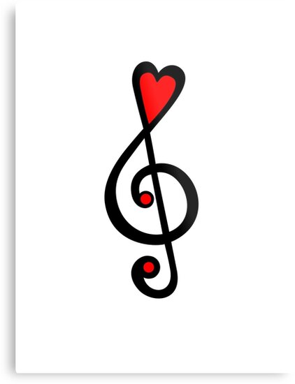 MUSIC CLEF HEART, Love, Music, Treble Clef, Classic\