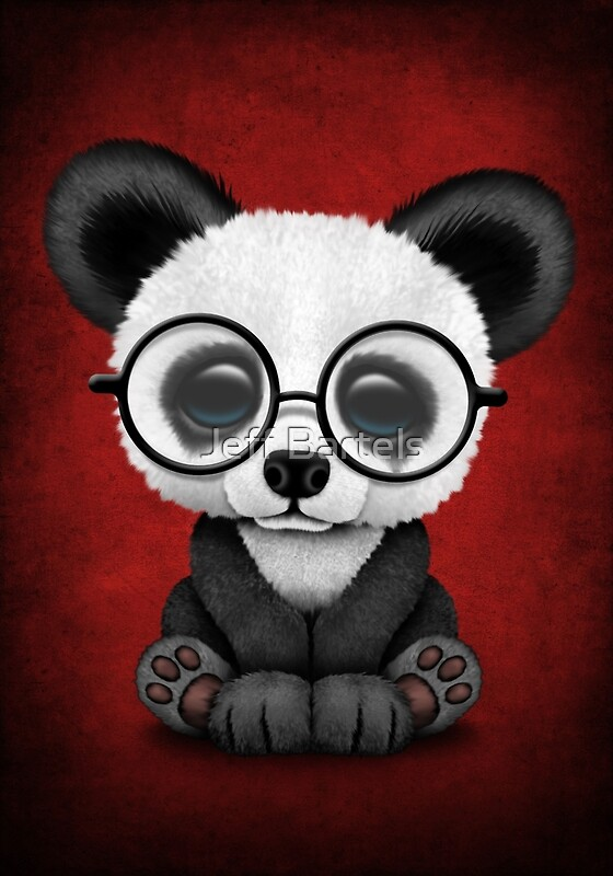 Iphone Product Red Wallpaper Quot Cute Panda Bear Cub With Eye Glasses On Deep Red Quot Art
