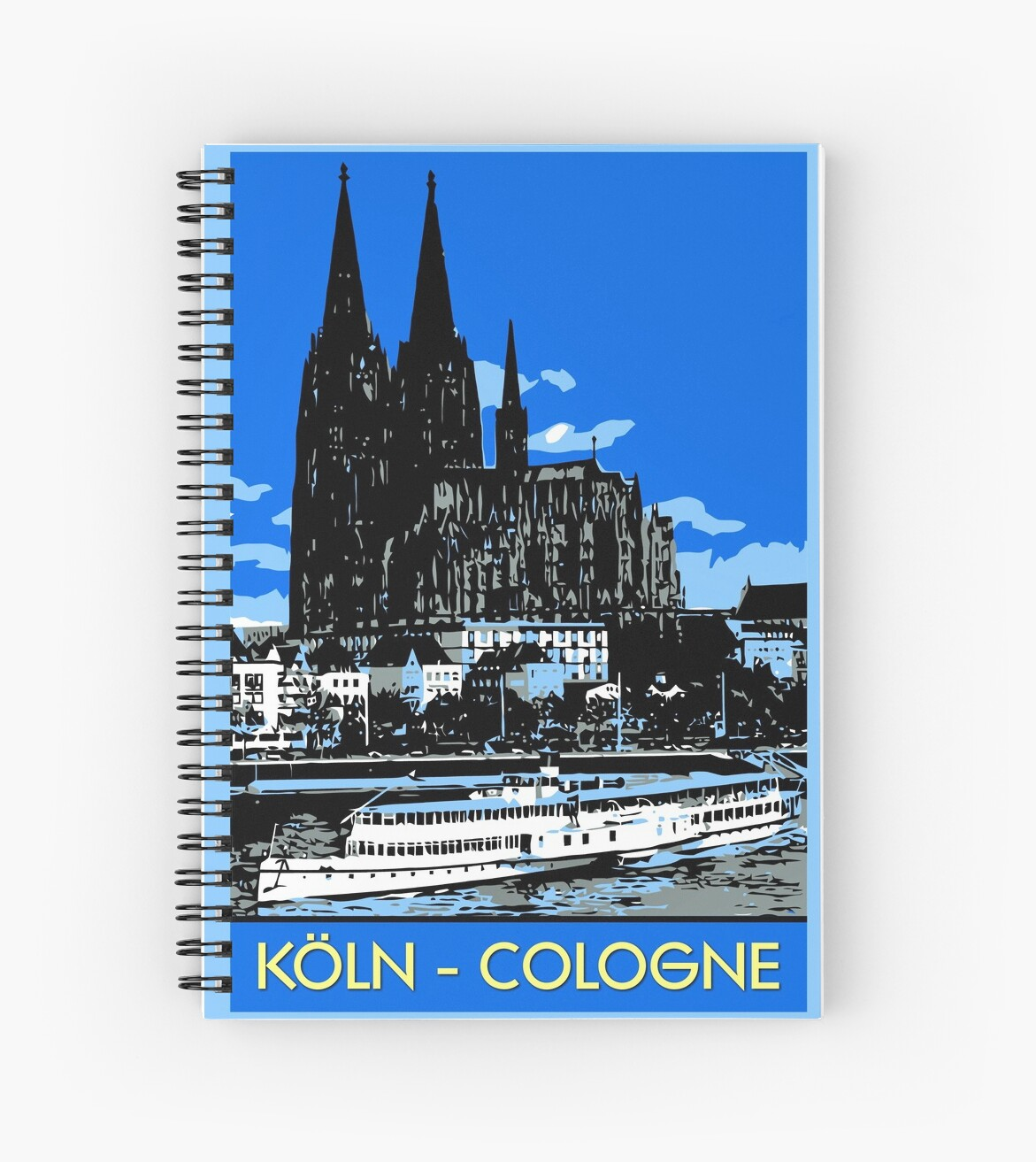 Notebook Köln Koeln Cologne Retro Vintage Style Travel Ad Spiral Notebook By Aapshop