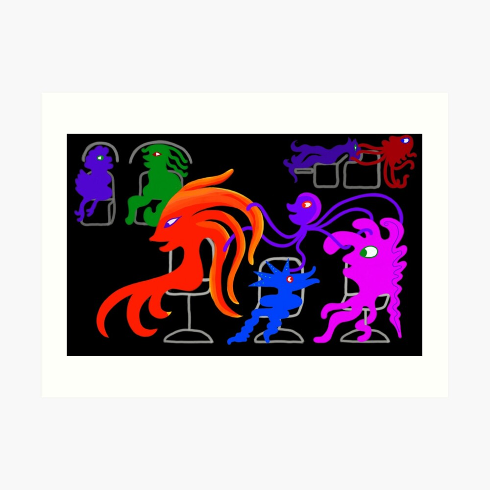Aps Salon Happy Monsters In The Hair Salon Transparent Background Art Print