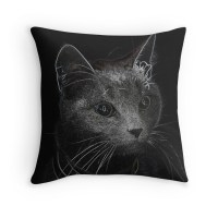 """Black cat"" Throw Pillows by CSRoth 