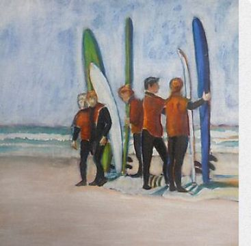 Tofino Surfers painting tutorials, a watercolor and a mixed media variation on the same subject