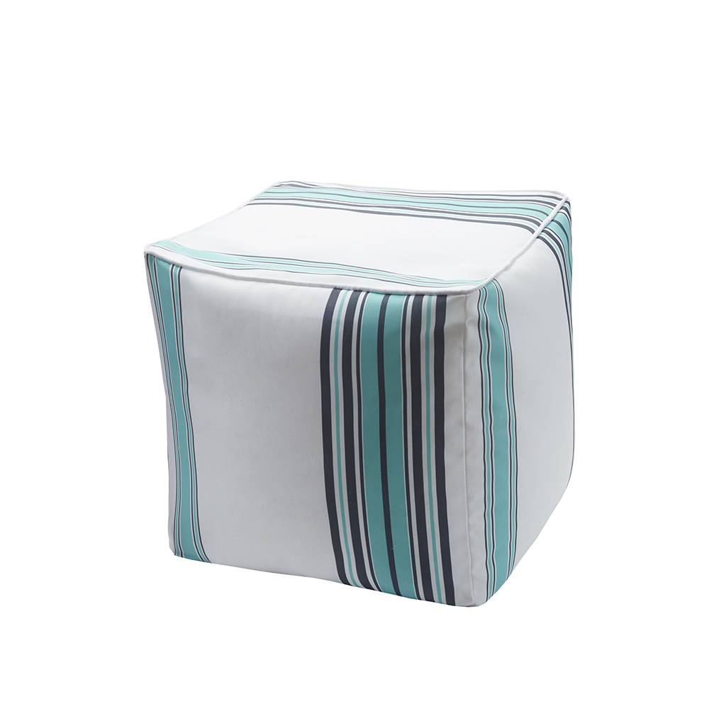 Pouf Madison Newport Printed Stripe 3m Scotchgard Outdoor Square Pouf