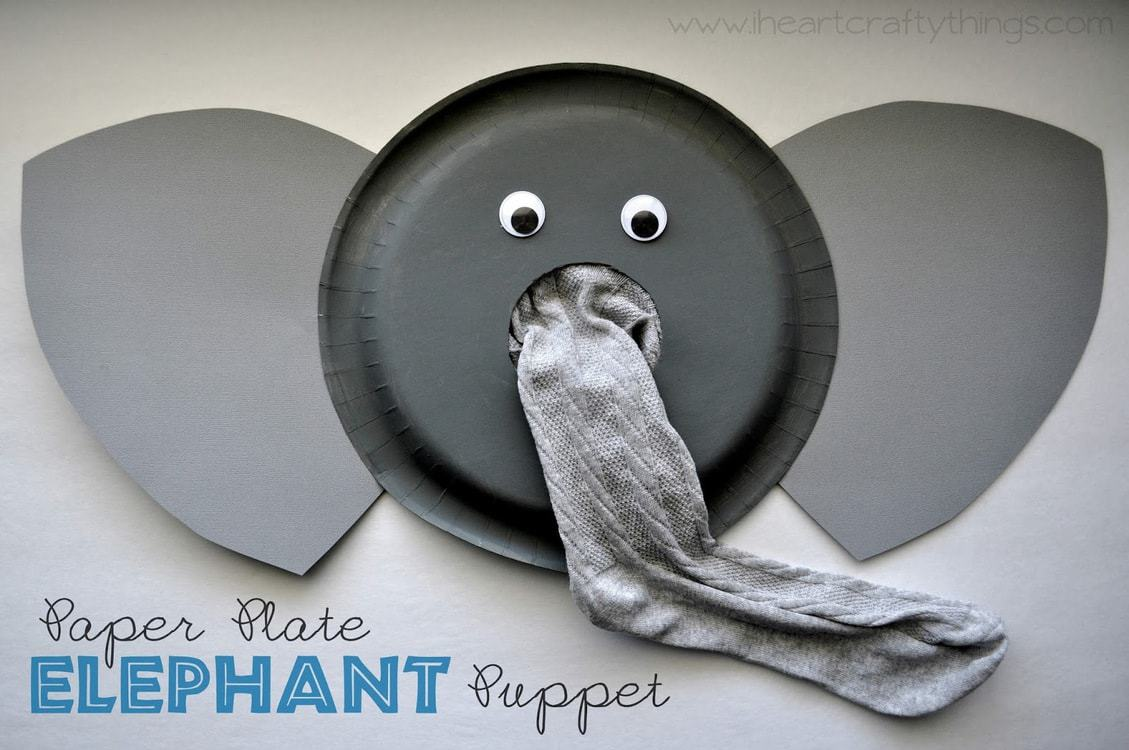 Paper plate animal crafts -  Animal Crafts For Kids Paper Plate Elephant Puppet Tutorial Download