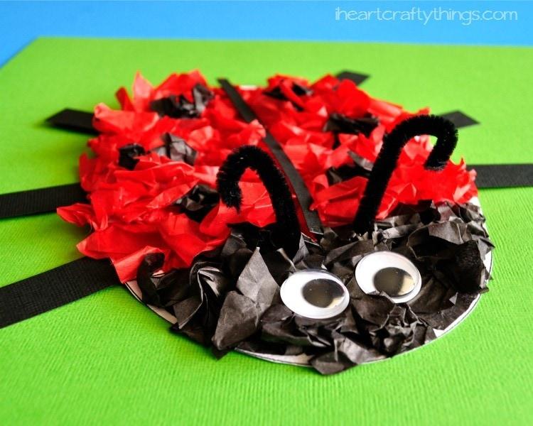 Tissue Paper Ladybug Kids Craft (with free pattern printable)