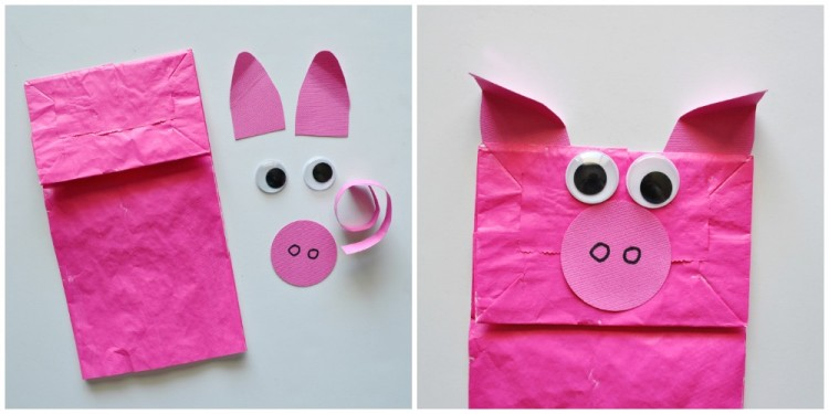 Paper Bag Pig Kids Craft