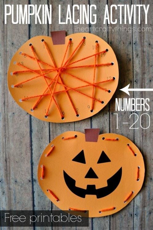 Preschool Pumpkin Lacing Activity with Printable