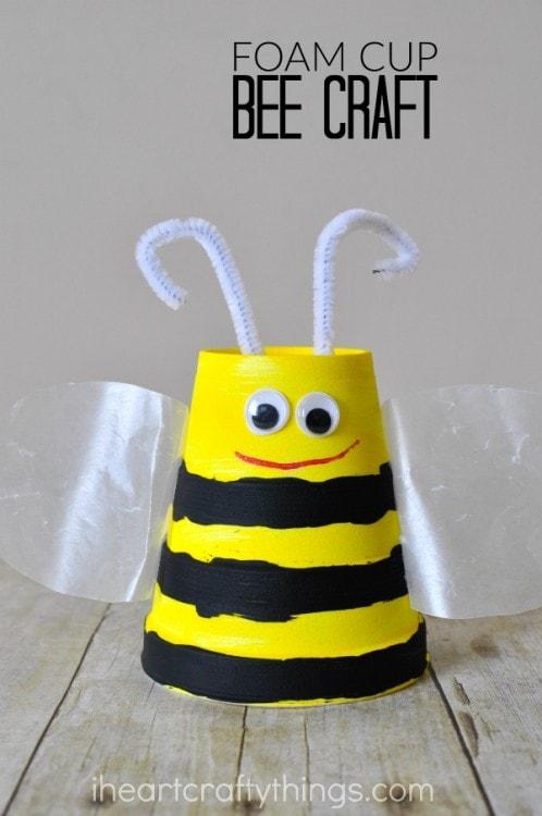 Super Cute Foam Cup Bee Craft