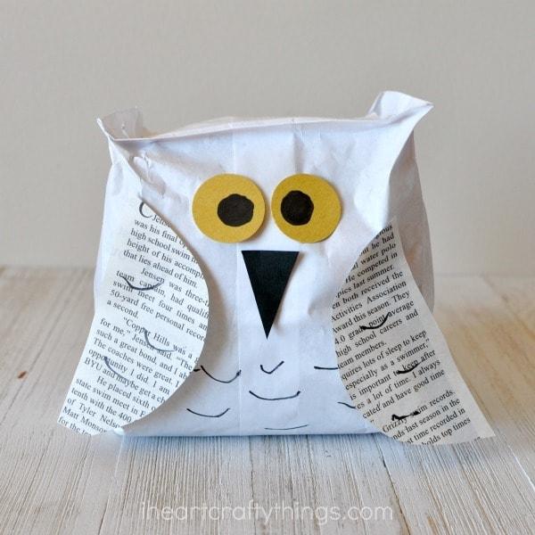 Paper Bag Snowy Owl Craft