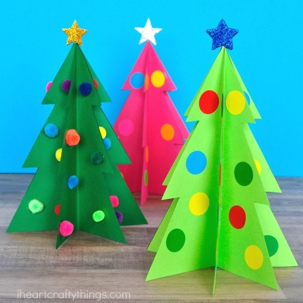 Colorful 3D Christmas Tree Craft I Heart Crafty Things - christmas bookmark templates