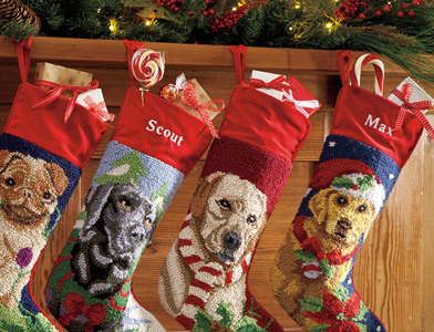 Wool Golden Retriever Personalized Christmas Stocking Pug Lab