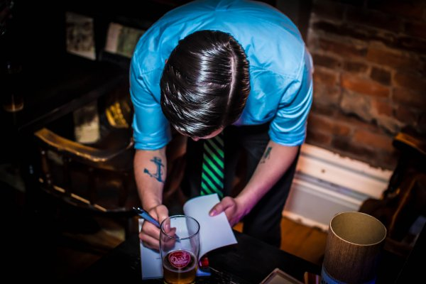 Chris McNamee at his book launch. Photo by Sean O'Neill.