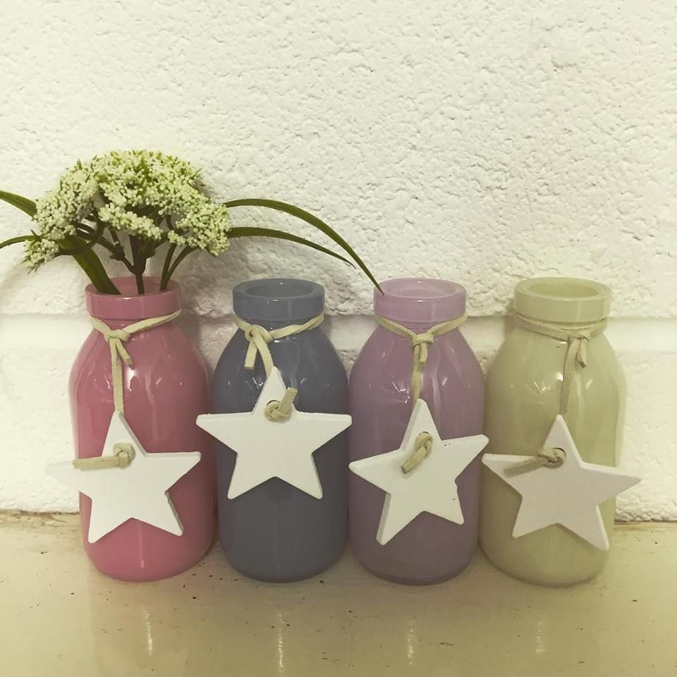 Milk Bottles For Decoration Mini Pastel Glass Milk Bottles Set Of 4