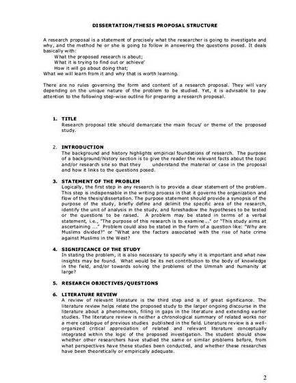 Short thesis proposal sample - Research paper proposal example