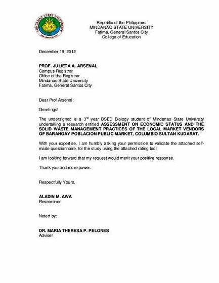 Validation letter sample thesis - request letter to a thesis adviser