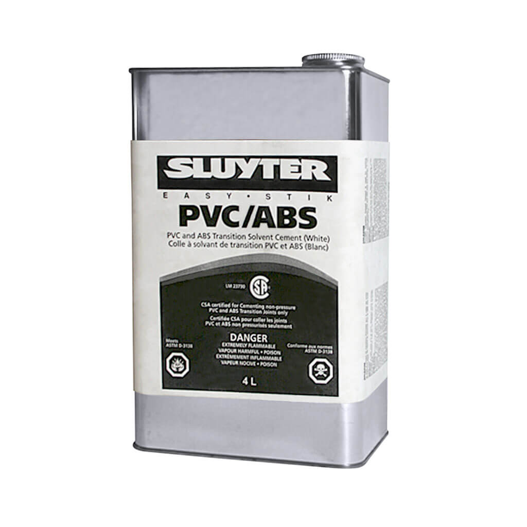 Abs Glue Sluyter 4 Liter Pvc And Abs Transition Solvent White Cement Glue