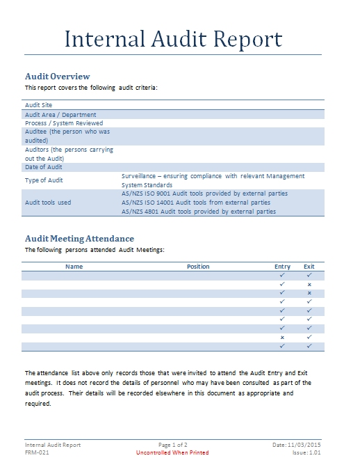 Internal Audit Report Template Internal Audit Documents Fully