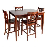 Walnut Dining High Top Table and Chairs, 5-Piece Set ...
