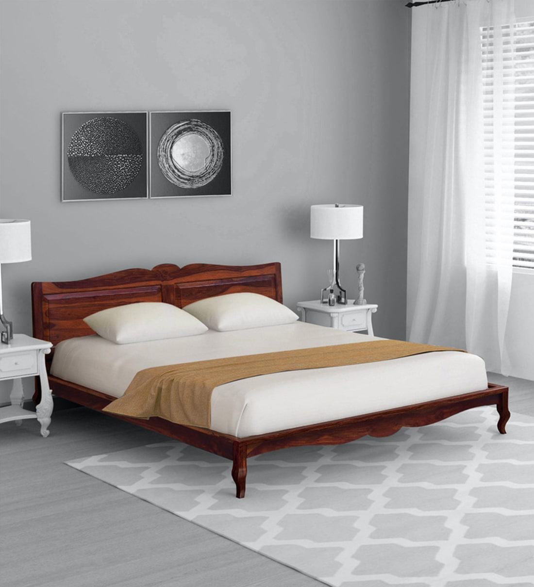Buy Anne Solid Wood Queen Size Bed In Honey Oak Finish Amberville By Pepperfry Online Traditional Queen Size Beds Beds Furniture Pepperfry Product