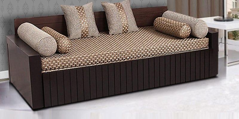 Buy Aster Elegant Sofa Cum Bed In Walnut Finish By Arra Online Engineered Wood Sofa Cum Beds