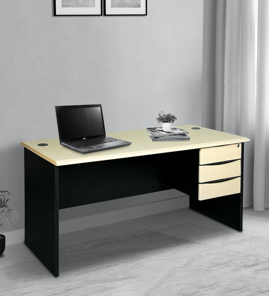 Buy Brisbane Office Table In Maple Black Finish By Parin Online Work Stations Tables Furniture Pepperfry Product