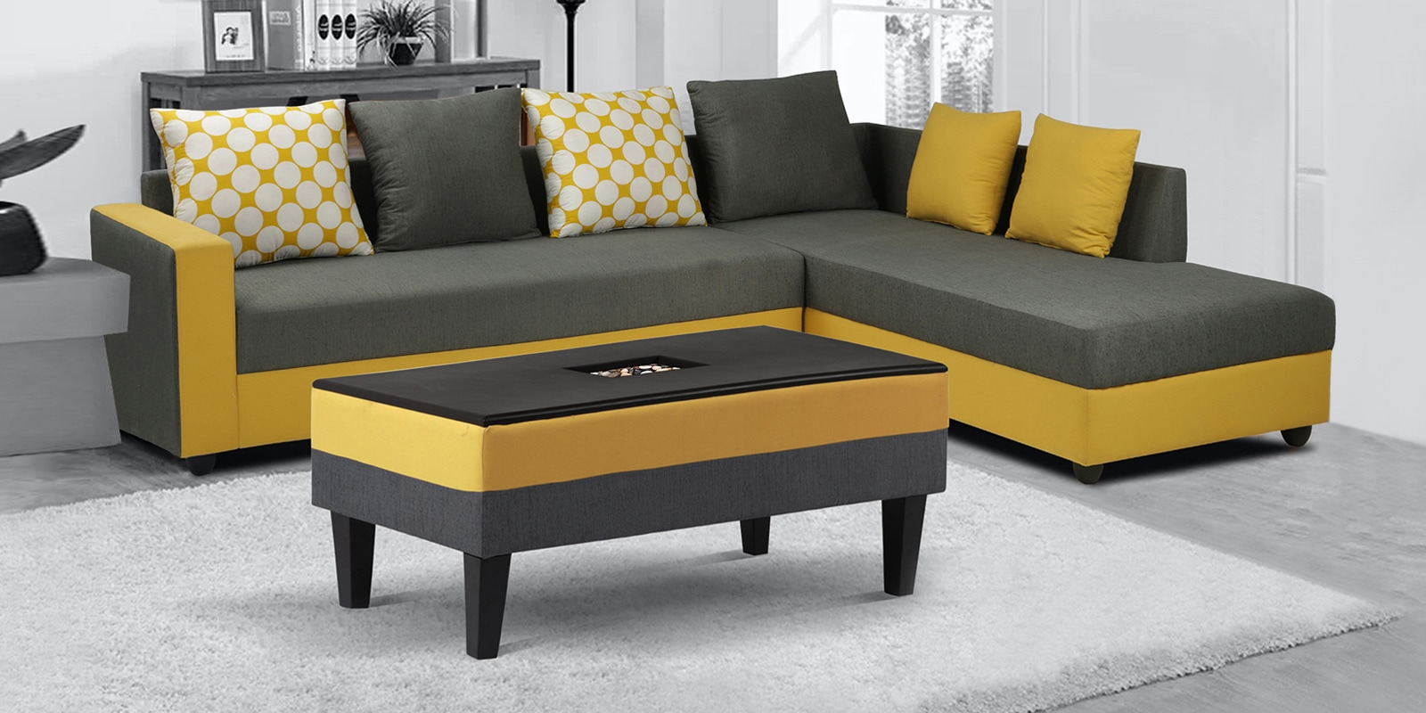 Buy Brisbane Lhs 3 Seater Sofa With Coffee Table In Grey Yellow Colour By Arra Online Modern Lhs Sectional Sofas Sectional Sofas Furniture Pepperfry Product