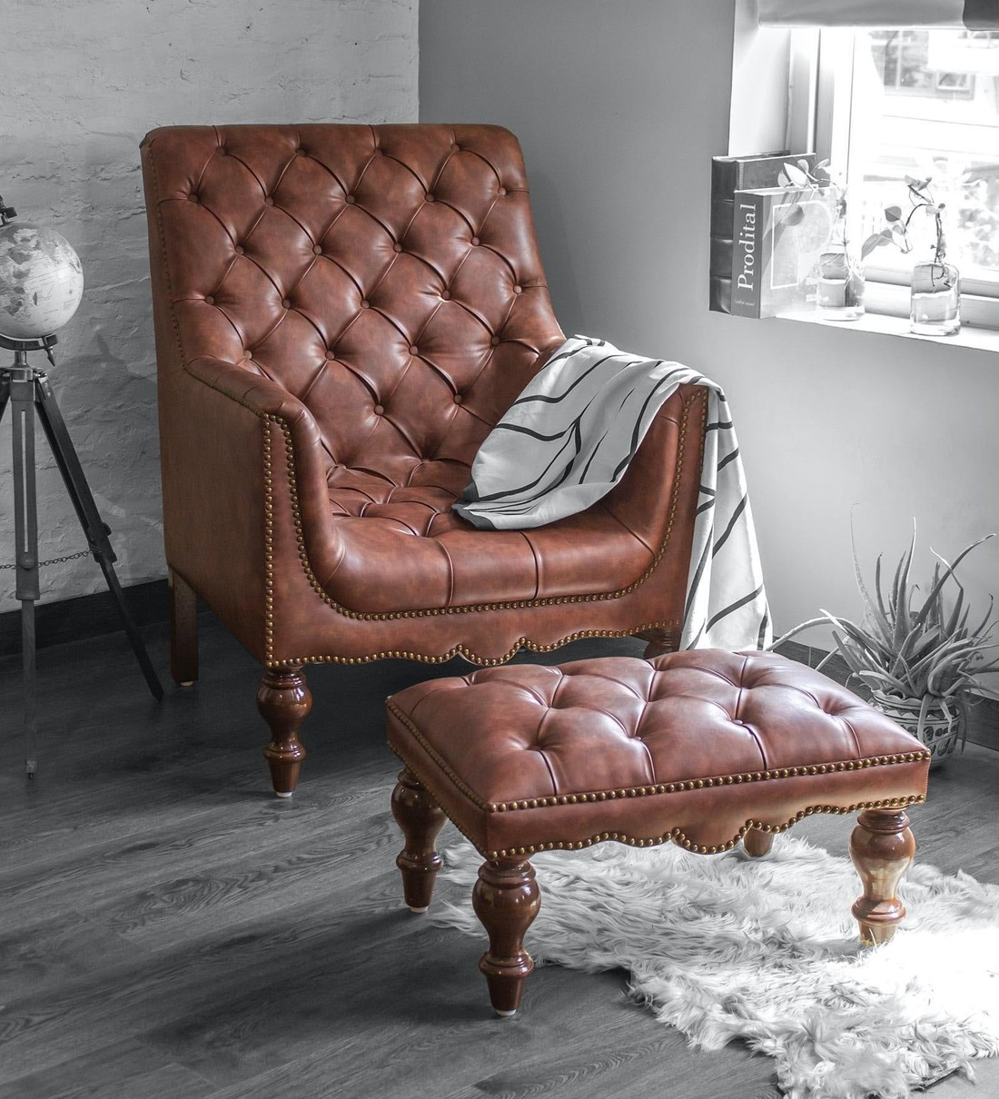 Buy Churchill Lounge Chair With Footstool In Vintage Brown Colour By Studio Ochre Online Full Back Lounge Chairs Chairs Furniture Pepperfry Product