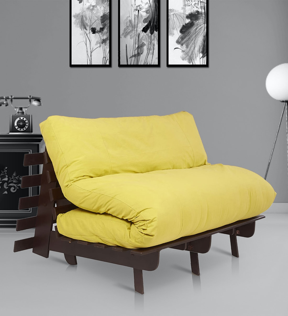 Buy Double Futon Sofa Cum Bed With Mattress In Lemon Yellow Colour By Arra Online Double Futons Futons Furniture Pepperfry Product