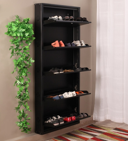Buy Eliteo Metal Black 5 Shelves Shoe Rack Online Modern