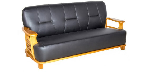 Buy Elite Leatherette (3+1+1) Sofa Set in Black Colour by ...