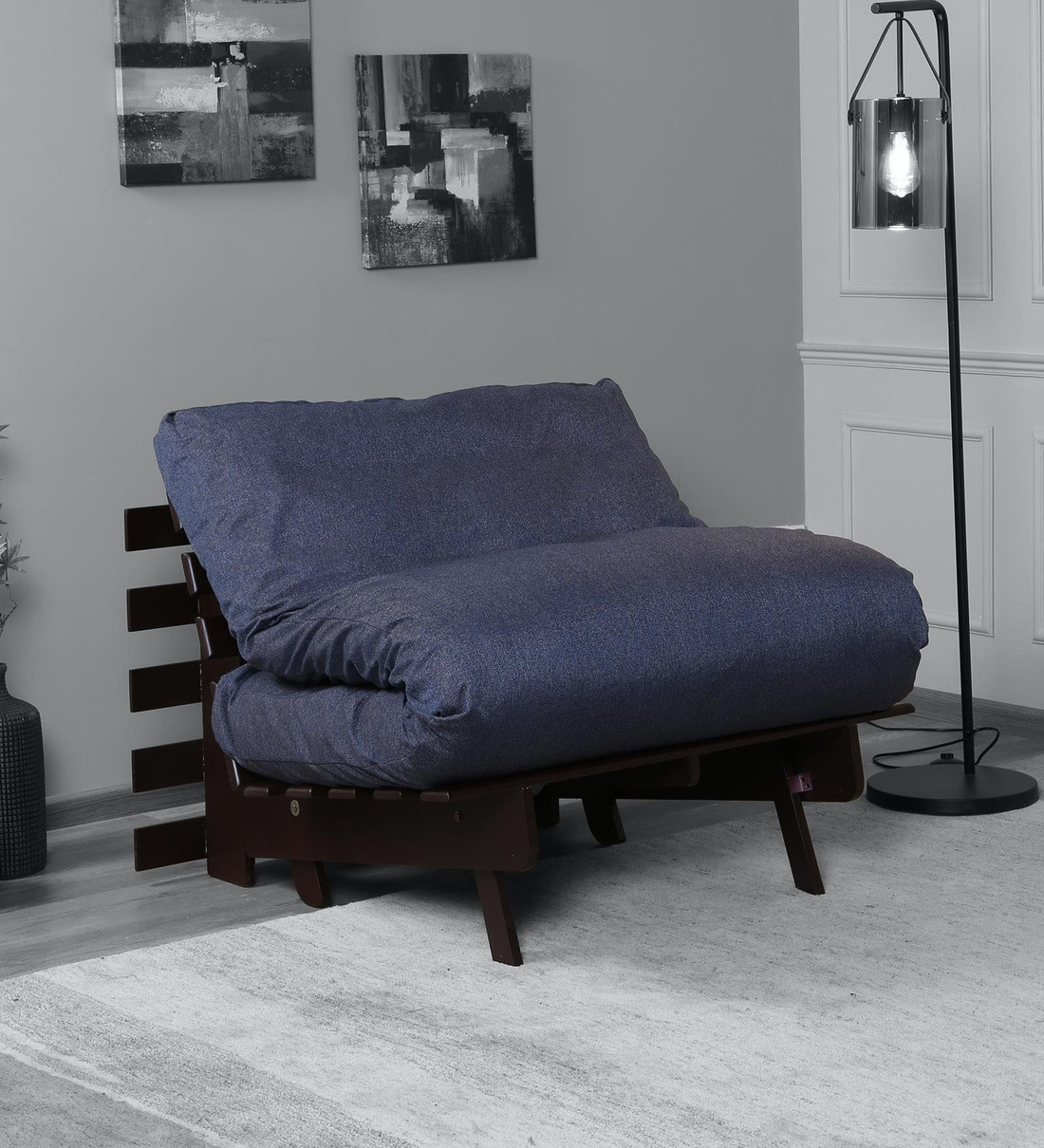 Buy Kobe Single Futon Sofa Cum Bed With Mattress In Spruce Blue Colour Mintwud By Pepperfry Online Single Futons Futons Furniture Pepperfry Product