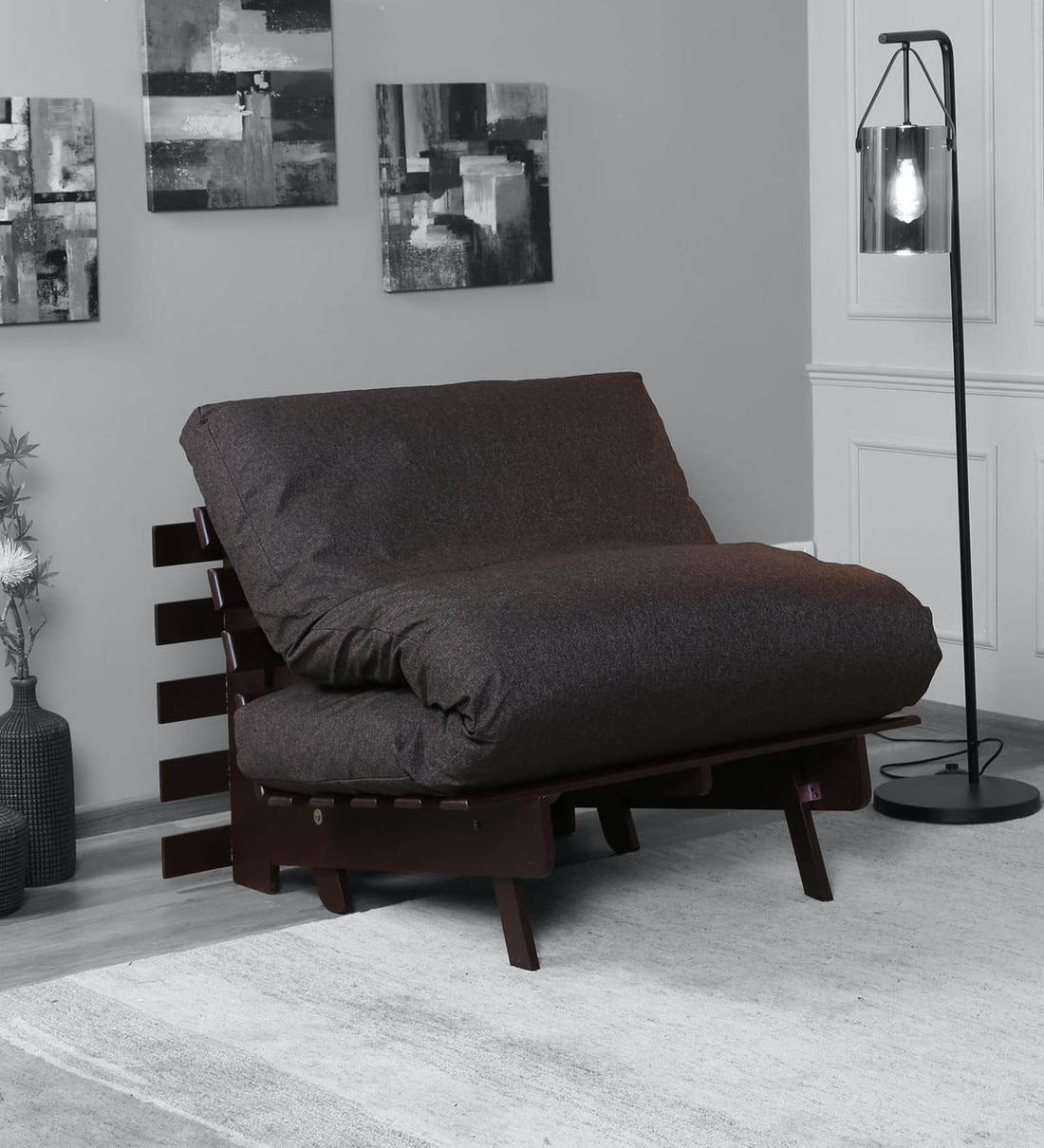 Buy Kobe Single Futon Sofa Cum Bed With Mattress In Walnut Brown Colour Mintwud By Pepperfry Online Single Futons Futons Furniture Pepperfry Product