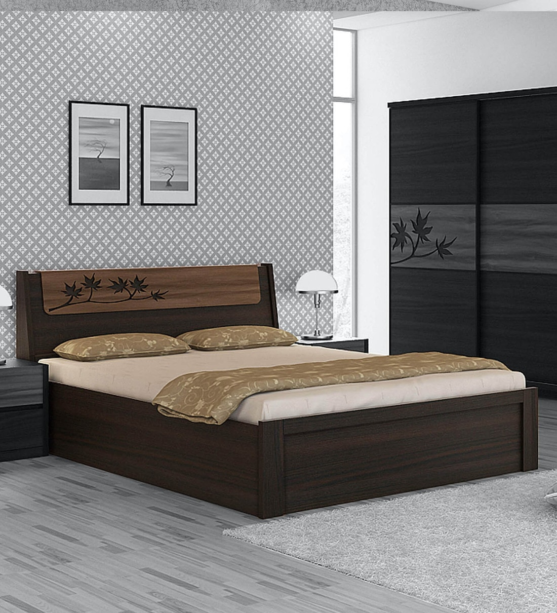 Buy Kosmo Maple King Size Bed With Storage In Fumed Oak Melamine Finish By Spacewood Online Transitional King Size Beds Beds Furniture Pepperfry Product