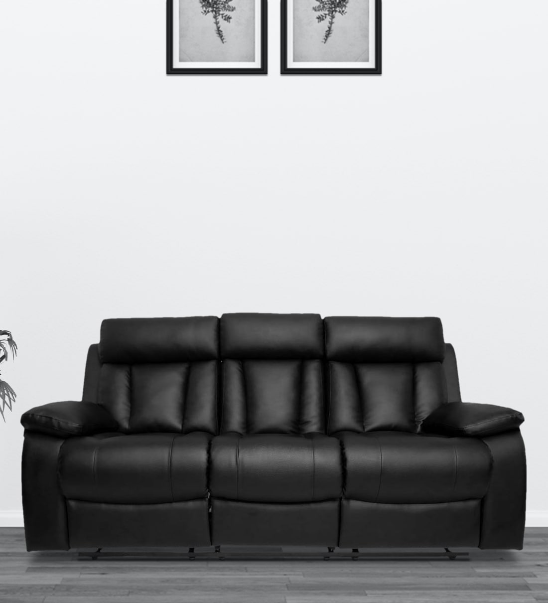 Buy Magna 3 Seater Manual Recliner Sofa In Black Colour By Recliners India Online Manual 3 Seater Recliners Recliners Furniture Pepperfry Product