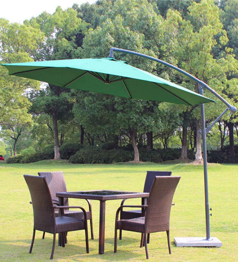Buy Luxury Side Pole Patio Umbrella In Green Colour By